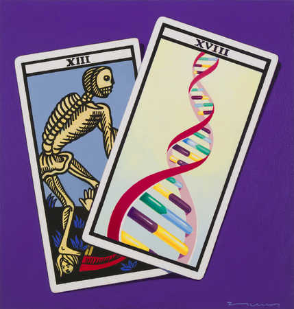 Tarot cards showing skeleton and DNA double helix