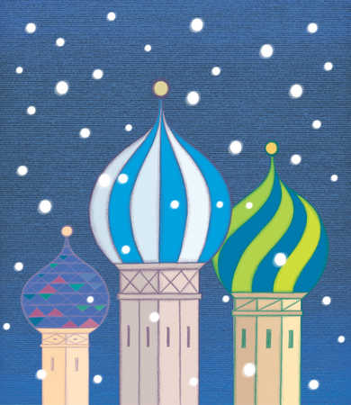 Towers with onion domes in snow