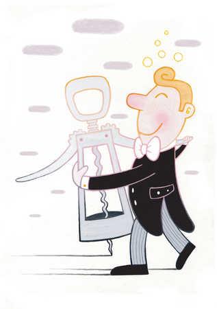 Man in tuxedo dancing with corkscrew