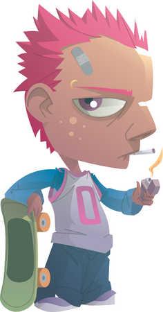 A teenage boy smoking a cigarette