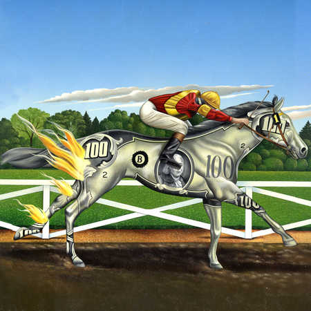 Jockey riding horse made of hundred dollar bill