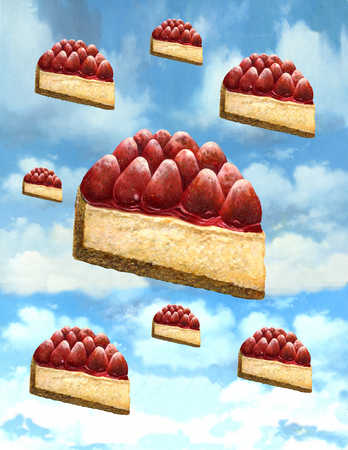 Strawberry cheesecake floating in sky