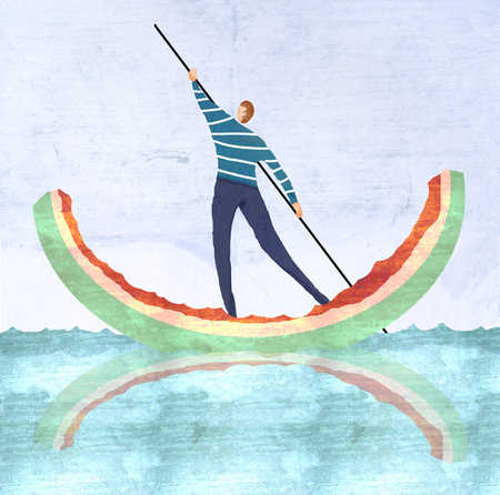 Man poling on watermelon rind