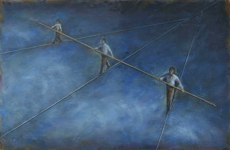 People walking different tightropes with same pole