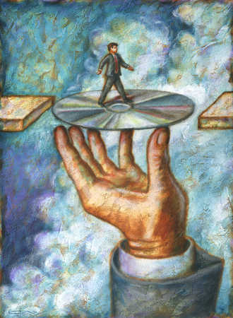 Businessman walking on compact disc