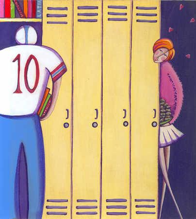 Cheerleader staring at football player in school hallway