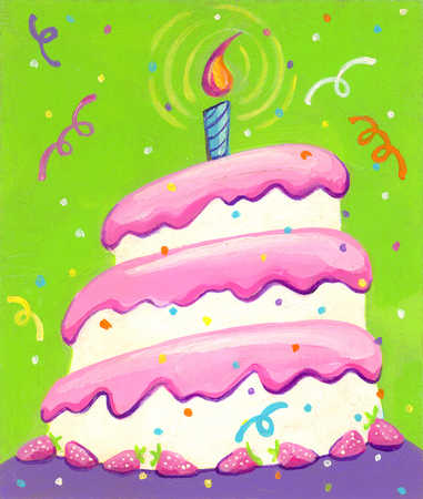 Stock Illustration Birthday cake with one candle