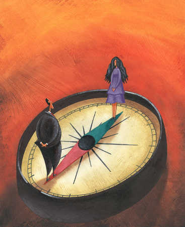 Businessman and woman standing on compass