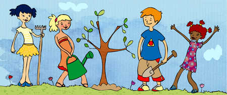 a group kids planting trees
