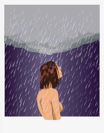 Nude woman standing in rain