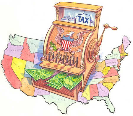 Tax cash register on United States