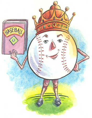 Baseball wearing crown and holding book