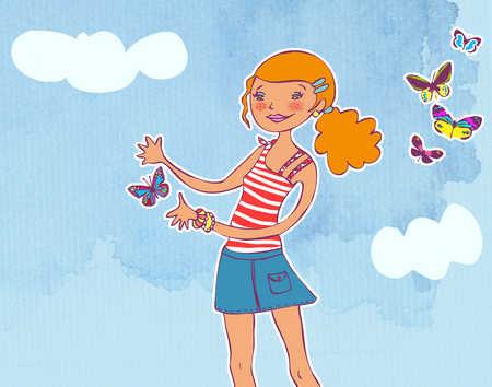 a girl releasing a butterfly