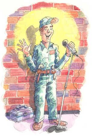 Handyman in spotlight on stage