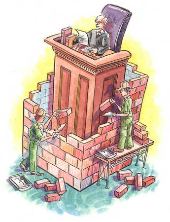 Brick wall being built around judge