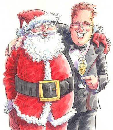 Santa Claus and businessman hugging
