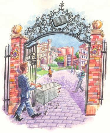 Businessman pushing shopping cart into university
