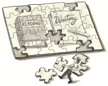 Man putting together reading and writing puzzle