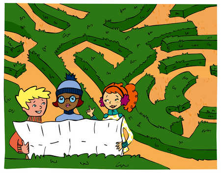 three kids looking at a map of a maze