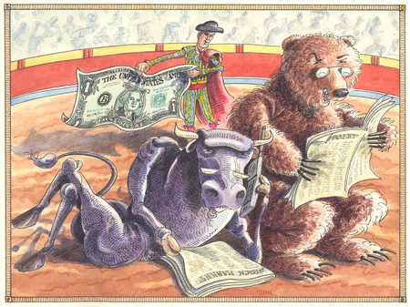 Bull and bear reading newspapers in bull fighting ring