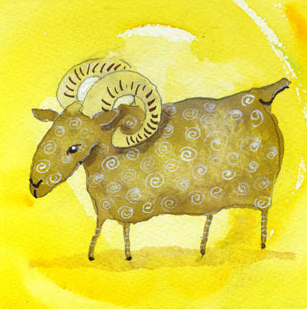 A ram in a yellow background