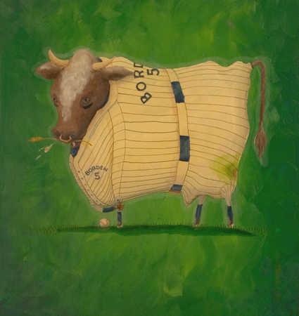 Bull wearing baseball outfit