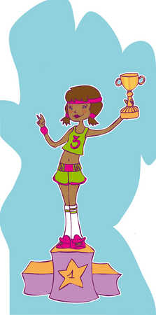 a girl lifting her first place trophy