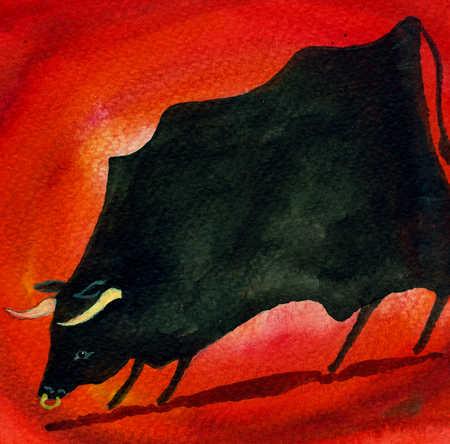 Watercolor of bull