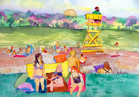 Sunbathers and lifeguard at beach