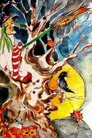 Witch and broomstick in bare tree