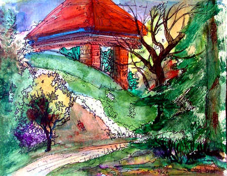 Watercolor illustration of house on hill