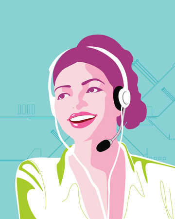 Businesswoman talking headset
