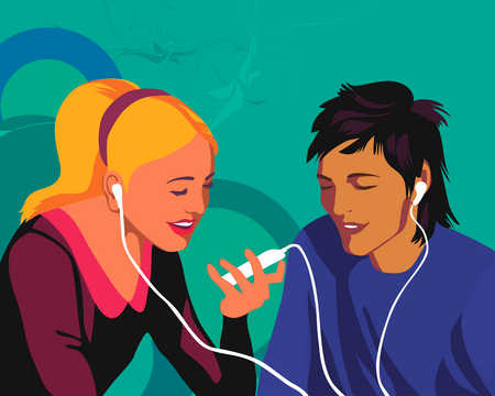 Couple listening to same mp3 player