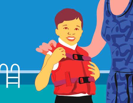 Child wearing life jacket at swimming pool