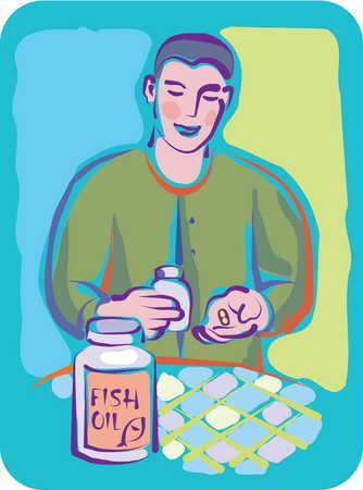 A man taking fish oil capsules