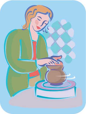 A woman using a pottery wheel