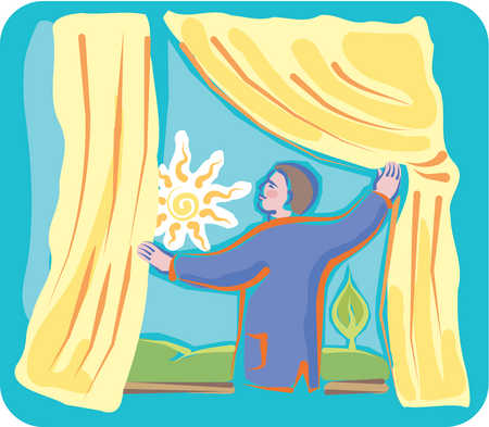 Stock Illustration A Man Pushing Aside Curtains To