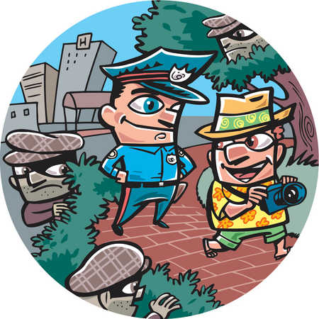 An oblivious tourist being watched by thieves and a policeman