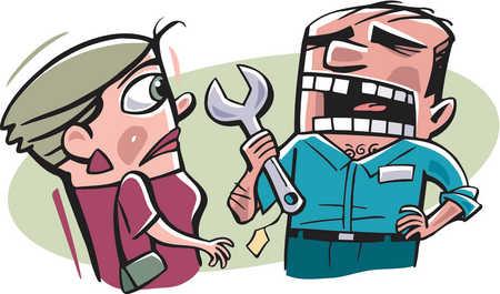 A handyman talking to a woman