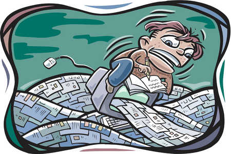 A man inundated with emails