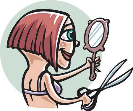 A woman giving herself a haircut
