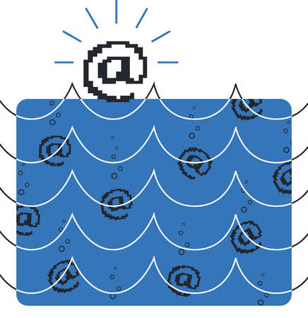 A illustration of at signs in the water
