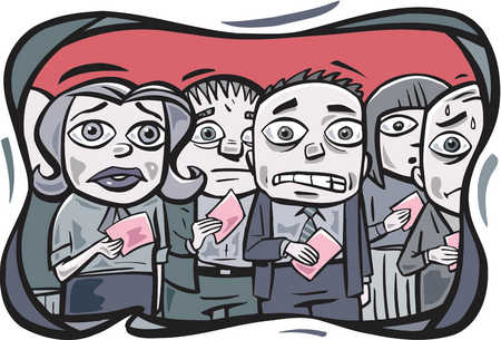 A group of office workers receiving pink slips