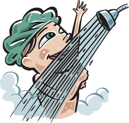 A woman taking a shower