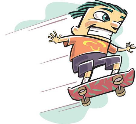 A skateboarder doing a stunt