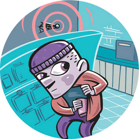 A thief caught stealing from the surveillance equipment