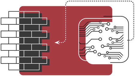An illustration of a brick wall being linked to an electronic device