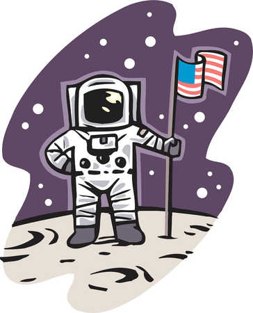 An American astronaut on the moon