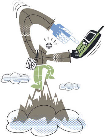 A man trying to use a mobile phone at high altitude