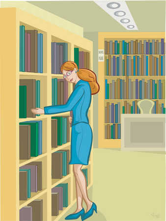 A librarian arranging books on the shelves